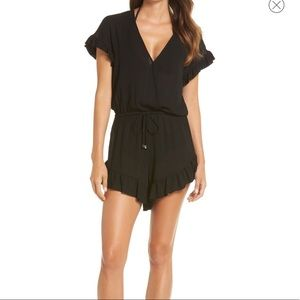 Ruffle Sleeve Cover-Up Romper by ELAN